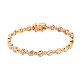J Francis - 14K Gold Overlay Sterling Silver Bracelet (Size 8) Made with SWAROVSKI ZIRCONIA 13.29 Ct