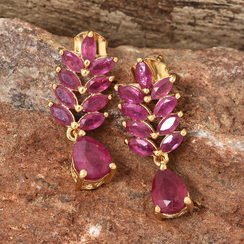 African Ruby (Pear and Mrq) Earrings in 14K Gold Overlay Sterling Silver 6.250 Ct