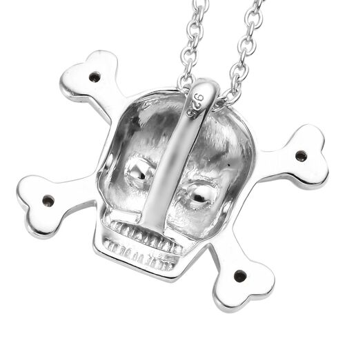 Black Diamond (Rnd) Skull Pendant With Chain in Platinum Overlay and Black Plating Sterling Silver 0.090 Ct.