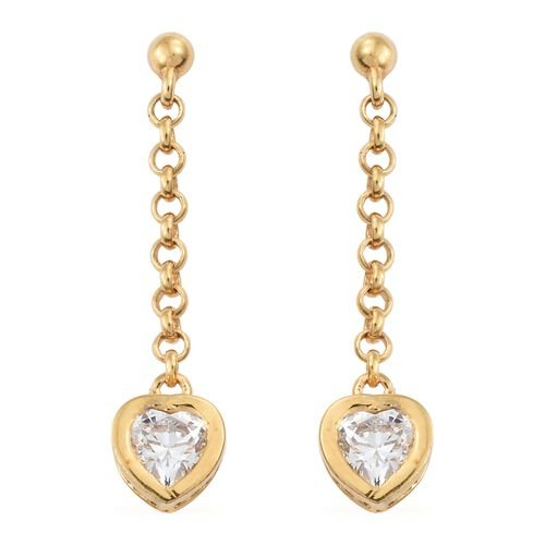 J Francis - Gold Plated Silver Heart Solitaire Pendant with Chain and Dangling Earrings Set (with Push Back) Made with SWAROVSKI ZIRCONIA