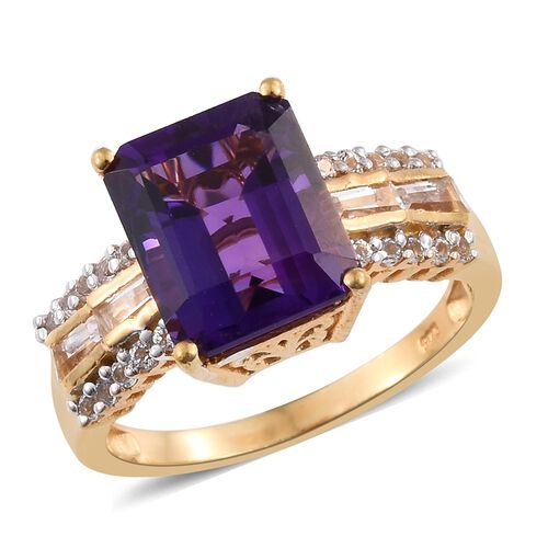Lusaka Amethyst (Oct), White Topaz Ring in 14K Gold Overlay Sterling Silver 7.500 Ct.