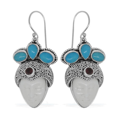 Princess Bali Collection OX Bone Carved Face, Arizona Sleeping Beauty Turquoise and African Ruby Hook Earrings in Sterling Silver 16.750 Ct. Silver wt. 12.00 Gms.