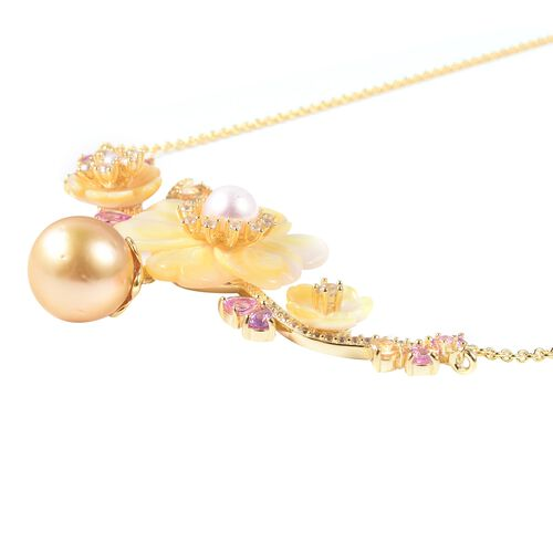 Jardin Collection - Yellow Mother of Pearl, Golden South Sea Pearl and Multi Gemstone Necklace (Size 20) in Yellow Gold Overlay Sterling Silver