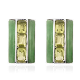 Green Jade and Hebei Peridot Earrings in Rhodium Overlay Sterling Silver 12.25 Ct.