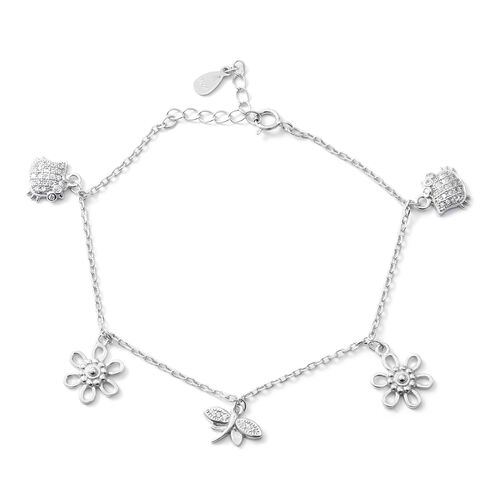 ELANZA Simulated Diamond (Rnd) Adjustable Charm Bracelet (Size 7) in Rhodium Overlay Sterling Silver