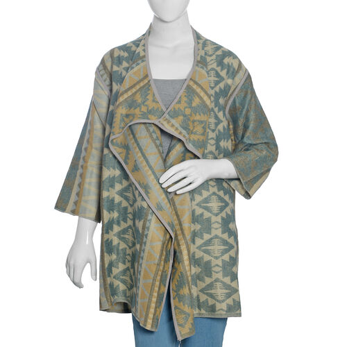 Designer Inspired -Beige, Green and Multi Colour Geometric Pattern Jacket (Size 85X55 Cm)