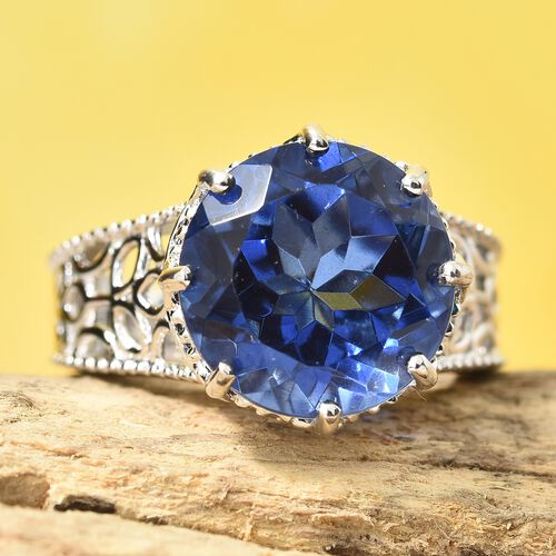Tanzanite Colour Quartz (Rnd) Ring in Platinum Overlay Sterling Silver 7.000 Ct