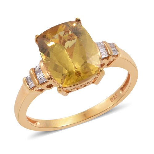 Rare Golden Canary Apatite (Cush 4.40 Ct), Diamond Ring in 14K Gold Overlay Sterling Silver 4.500 Ct