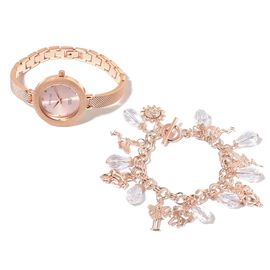 Set of 2- STRADA Japanese Movement Water Resistant Rose Gold  Plated  Studded White Austrian Crystal Watch with Simulated Diamond Multi Charm Bracelet (Size 7.5 with 1 inch Extender)