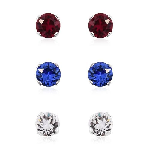 Set of 3 -  J Francis Crystal from Swarovski - White Colour Crystal (Rnd), Ruby and Sapphire Colour Crystal Stud Earrings (with Push Back) in Platinum Overlay Sterling Silver