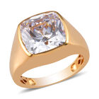 J Francis 14K Gold Overlay Sterling Silver Solitaire Ring (Size W) Made with SWAROVSKI ZIRCONIA 15.35 Ct, Sil