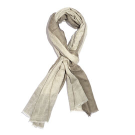 100% Cashmere Wool Dark Grey, Off White and Light Grey Colour Zigzag Pattern Shawl with Fringes (Siz