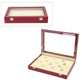 Leatherette paper 150 slot Ring box with Acylic window Anti Tarnish lining with two latch - Black