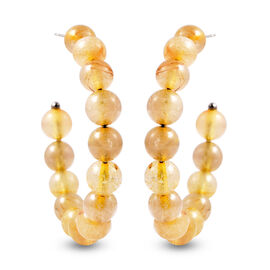 Golden Rutilated Quartz Beaded Hoop Earrings (with Push Back) in Stainless Steel  55.00 Ct.
