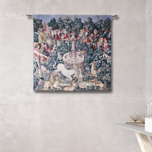 Signare Tapestry - 100% Cotton Wall Hanging - The Hunt of the Unicorn (Size 100x100 Cm)