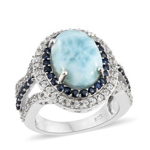 Larimar (Ovl 5.65 Ct), Kanchanaburi Blue Sapphire and Natural Cambodian Zircon Ring in Platinum Overlay Sterling Silver 7.500 Ct. Silver wt 6.28 Gms.