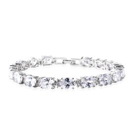 Designer Inspired- Simulated White Diamond (Ovl and Rnd) Tennis Bracelet (Size 8) in Silver Tone