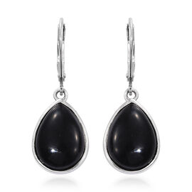 Shungite (Pear) Lever Back Earrings in Platinum Overlay Sterling Silver 8.750 Ct.