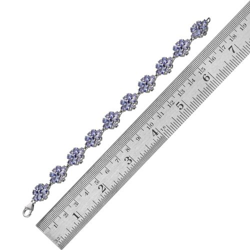 AA Tanzanite (Pear) Bracelet in Platinum Overlay Sterling Silver (Size 6.5) 12.000 Ct.