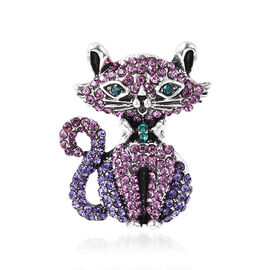 Multi Colour Austrian Crystal Enamelled Cat Brooch in Silver Tone