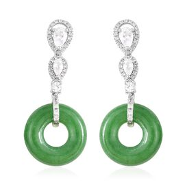 27.91 Ct Green Jade and Zircon Circle Drop Earrings in Rhodium Plated Sterling Silver