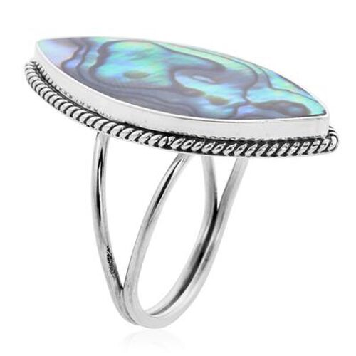 Royal Bali Collection - Abalone Shell Ring in Sterling Silver, Silver wt. 4.07 Gms