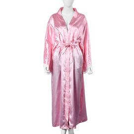 Solid Pink Colour Satin Feel Long Kimono (Size 65x130 Cm)