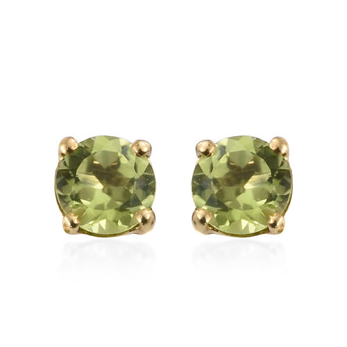 Hebei Peridot (Rnd) Solitaire Earrings with Push Back and Pendant in 14K Gold Overlay Sterling Silver 2.000 Ct.