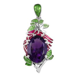 GP 5.25 Ct Amethyst and Blue Sapphire Enamelled Leaf Pendant in Platinum Plated Silver