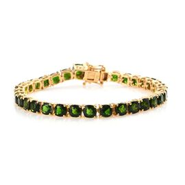 19.75 Ct Russian Diopside Tennis Bracelet in Gold Plated Sterling Silver 10 Grams 7.5 Inch