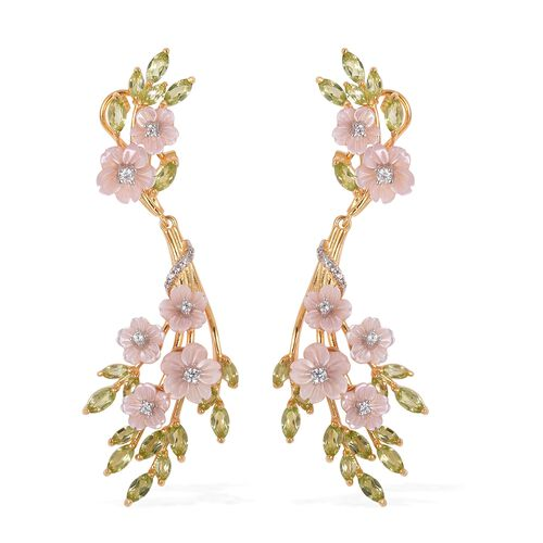 JARDIN COLLECTION - Pink Mother of Pearl, Hebei Peridot and Natural White Cambodian Zircon Earrings