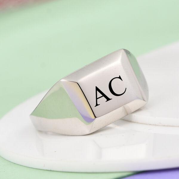 Personalised Engravable RHAPSODY 950 Platinum Signet Ring, Platinum wt. 9.40 Gms
