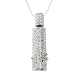 Simulated Mystic White Crystal (Rnd), White Austrian Crystal Pendant with Chain (Size 29 with 3 inch