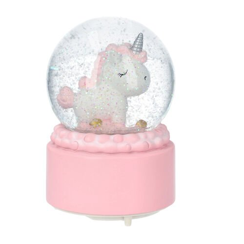 Pink Unicorn Water Globe with Music and Glitter - (Requires 3xAAA Batteries - Not Inc)