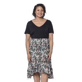 LA MAREY Leaf Printed Midi Skirt in Multi