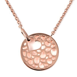 RACHEL GALLEY Rose Gold Overlay Sterling Silver Love Theme Pendant with Chain (Size 16/18/20)