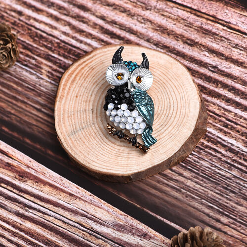 Multi Colour Austrian Owl Crystal Brooch