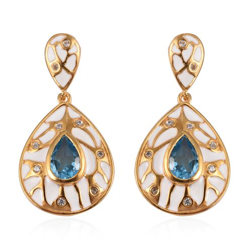 Electric Blue Topaz and Natural Cambodian Zircon Enamelled Drop Earrings (with Push Back) in 14K Gol