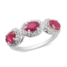 African Ruby and Natural Cambodian Zircon Ring in Platinum Overlay Sterling Silver 2.00 Ct.