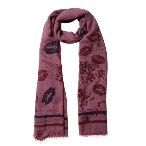 Red Colour Lip and Stripe Pattern Scarf (Size 178x100 Cm)