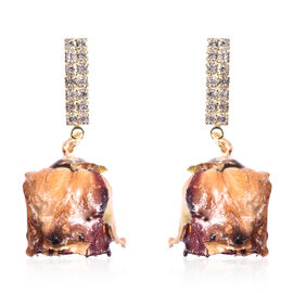 Simulated Diamond Floral Earrings (with Push Back) in Yellow Gold Tone