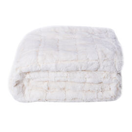 Serenity Night Jacquard Faux Fur Sherpa Blanket (150x200cm) - White