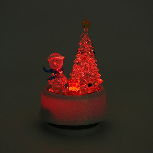 Home Decor - Multi Colour LED Light Rotating Musical Snowman and Christmas Tree (Size 15X8 Cm)