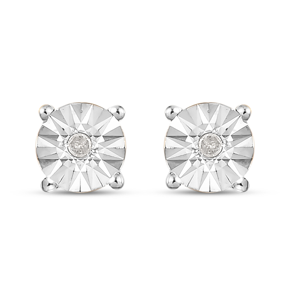 Diamond Stud Earrings (with Push Back) in 14K Gold Overlay Sterling Silver