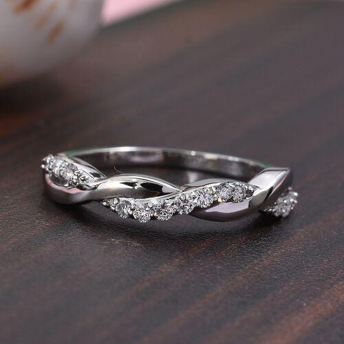 RHAPSODY 0.25 Ct Diamond Twisted Ring in 950 Platinum IGI Certified VS EF