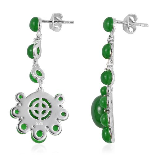 Green Jade (Rnd), Natural Cambodian White Zircon Drop Earrings (with Push Back) in Rhodium Overlay Sterling Silver 19.550 Ct.