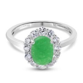 Green Jade and Natural Cambodian Zircon Halo Ring in Sterling Silver 1.93 Ct.
