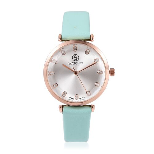 STRADA Japanese Movement White Austrian Crystal Studded Water Resistant Watch in Rose Gold Tone with