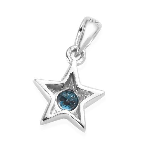 9K White Gold Blue Diamond (Rnd) Star Pendant 0.25 Ct.