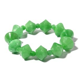 Rare Shape Green Jade Stretchable Bracelet Size 6 Inch